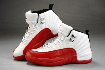 Air Jordan 12 White/Red Leather Women Shoes