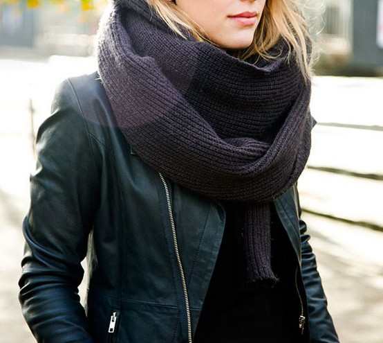Big scarf + leather jacket