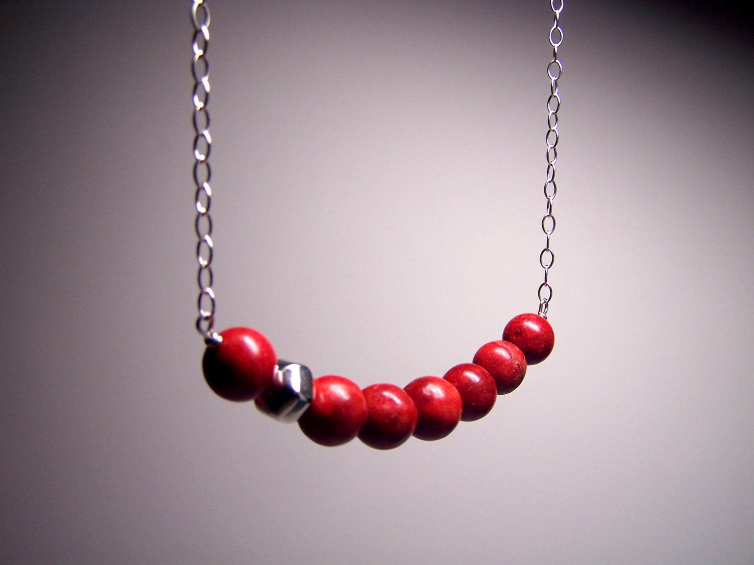 RED Coral Sterling Silver Necklace - 925 Hexahedron Geometric Modern Minima
