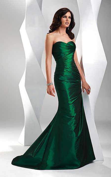 What prom dress would suit paleish skin,brown hair and blue eyes?