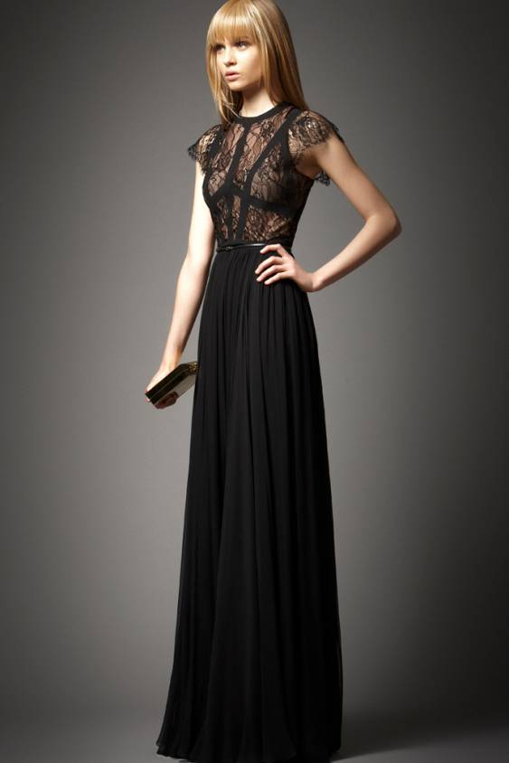 Elie Saab Terra Short Sleeves Black Prom Dresses ...