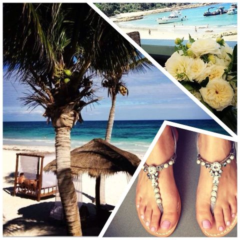 In paradise with delicate pearl sandals...