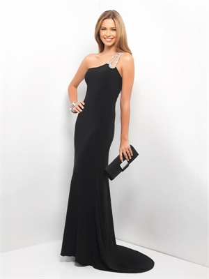 Prom Dress Online on Black One Shoulder With Beaded Strap Prom Dress Pd11230 Sale Online