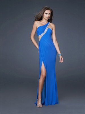 Blue  Shoulder Dress on Column One Shoulder Sequin Side Slit Drape Blue Prom Dress Pd1629