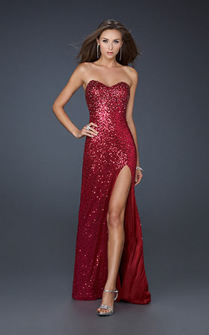 Prom Dress on La Femme 17526 Red Sparkly Long Sexy Prom Dress      Stylecaster
