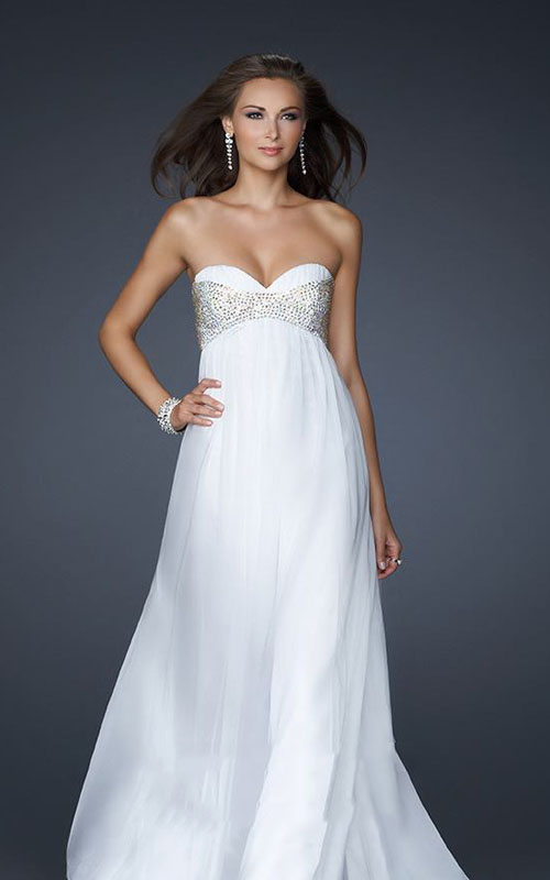 Cheap white sweetheart strapless flowy bridal stylecaster for Flowy white wedding dress