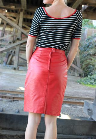 Vintage 70's Red Leather Pencil Skirt from MyDarlingVintage