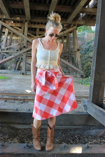 Levi's Vintage 1970s Red and White Gingham Skirt in a size small or medium.