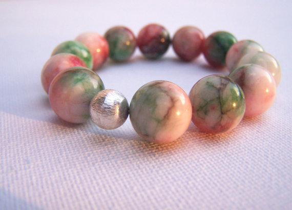 GUGMA FLORAL Sterling Silver Stretch Bracelet - Watermelon Jade - Stacking
