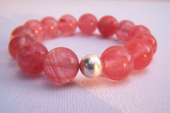 GUGMA CHERRY FLORAL Sterling Silver Stretch Bracelet - Pink Quartz - Stacki