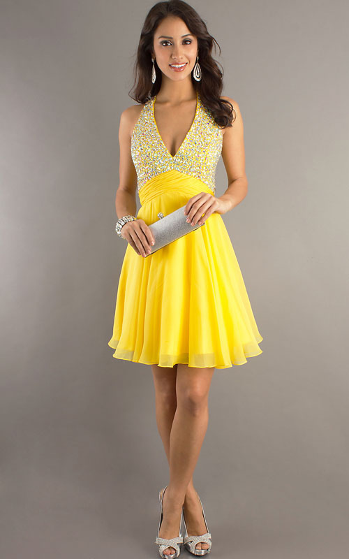 Yellow Short Cocktail Dresses 25