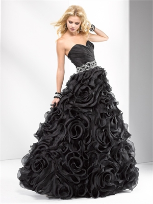 Corset Dress on Corset Back Bodice And Braided Jeweled Waistband Organza Black Prom
