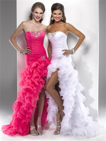 Prom Dress on High Low Strapless Beaded And Ruffled Organza Prom Dress Pd1414