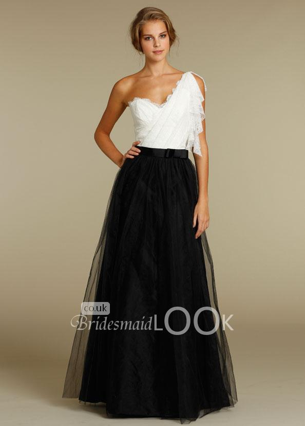 A-line Black White One Shoulder Bridesmaid Dress tulle skirt - BridesmaidLo