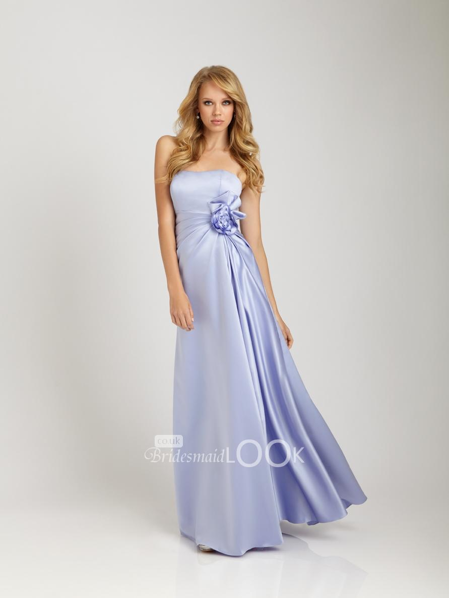 Sky blue long Bridesmaid Gown with 3D Flower - BridesmaidLook.co.uk