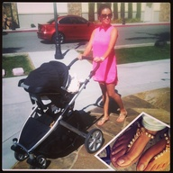New Mommy looking very stylish in her Azzurra Capri Diana Oro Sandals