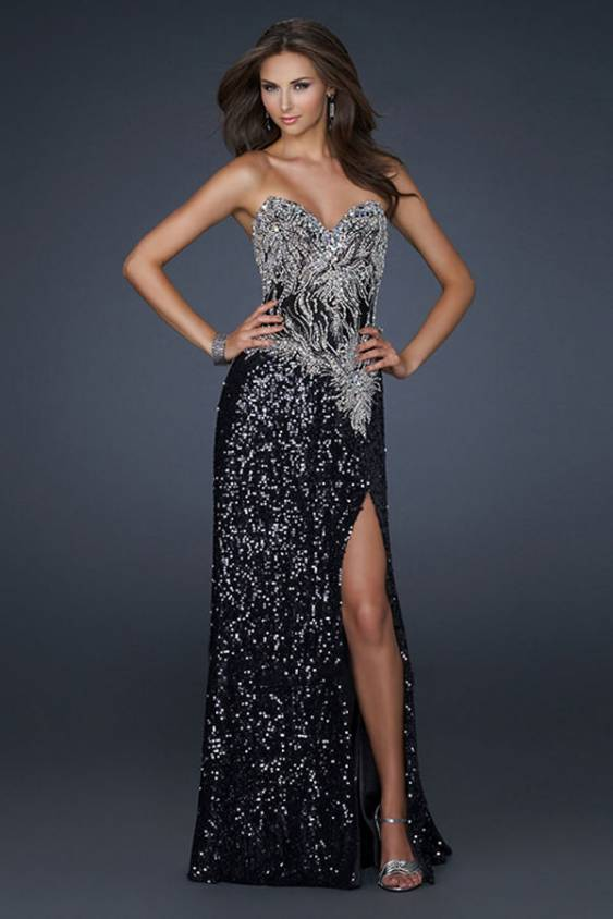 Images of Black Sequin Prom Dress - Reikian