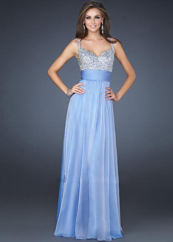 Light Blue Evening Dresses - Holiday Dresses