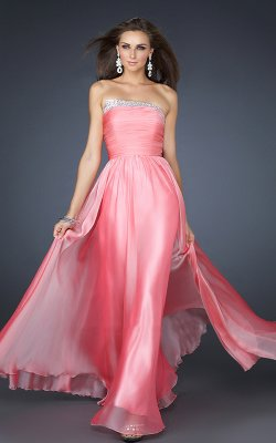 Long Prom Dress on Elegant Strapless Long Chiffon Prom Dresses  Long Pink Dresses