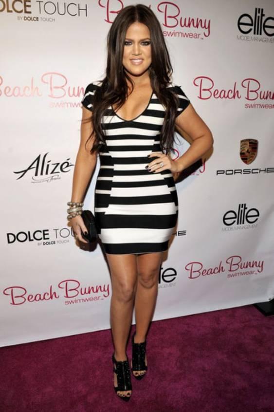 khloe kardashian black white herve leger stripes