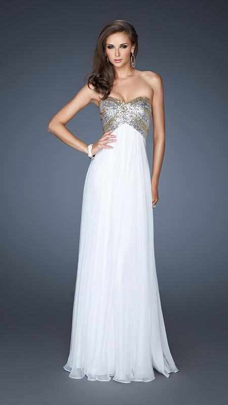 Prom Dresses White And Silver - Women S Evening Dresses