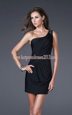 Cocktail Dress on Rhinestone One Strap Tight Cocktail Short Prom Dresses Black