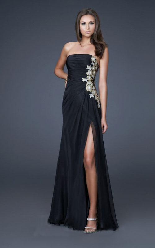 Black Long Dress La Femme 15985 With Sequin Applique Side    178 00