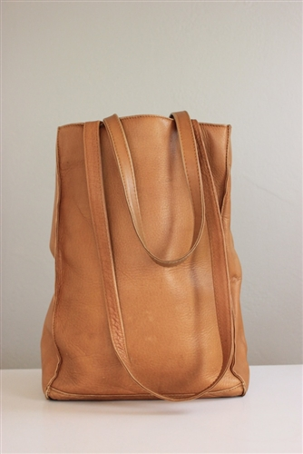 Vintage Carmel Brown Leather Tote Handbag