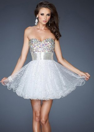 White Cocktail Dress on White La Femme 18902 Sparkles Short Prom Dress 2013  Lafemme18902