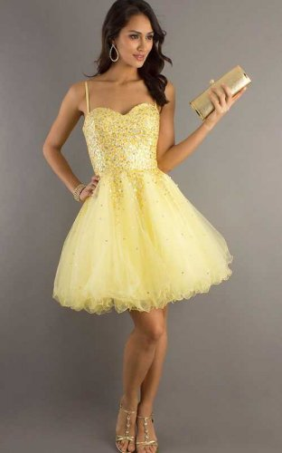 Yellow Short Sequin 6916 Prom Dress Cheap Sale [prom dresses...