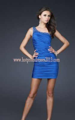 Prom Dress on Blue One Shoulder Short Tight Prom Dresses Discount  Royal Blue