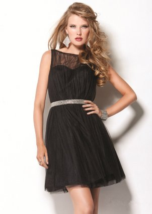 Short Black Dress on Short Black Jeweled Waist Chiffon Cocktail Dress Cheap  Short Black