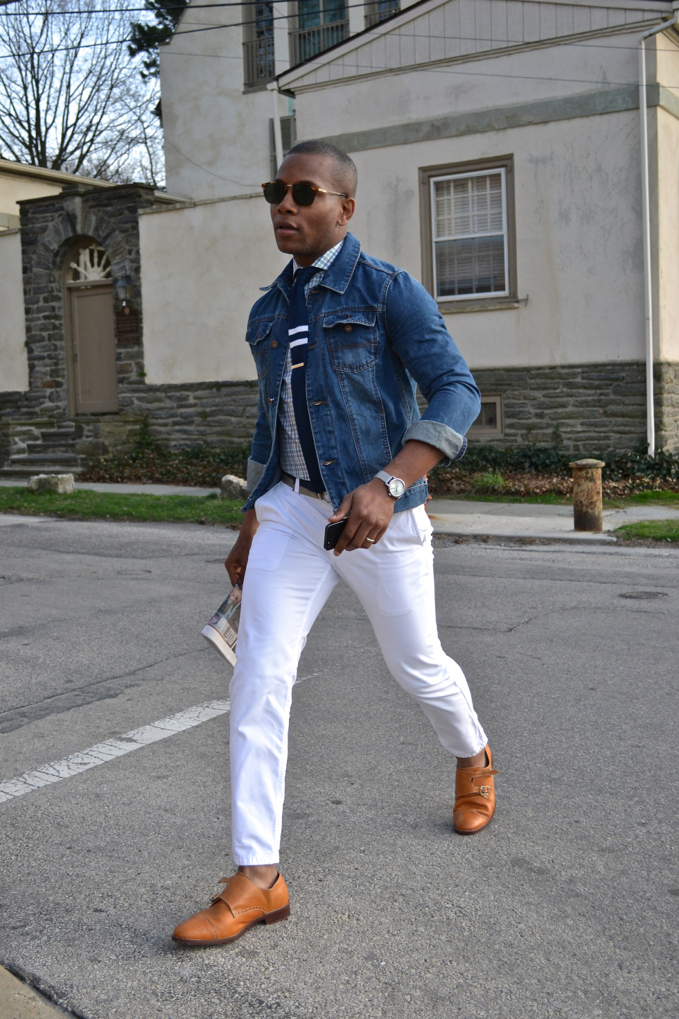 White Chinos & a Denim Jacket