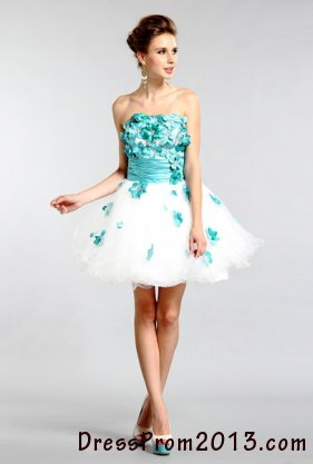 blue floral a line strapless homecoming dresses