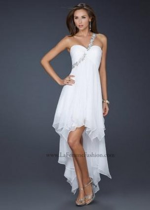 White And Silver High Low Prom Dresses 84