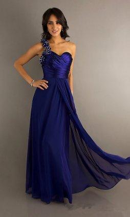 Blue  Shoulder Dress on One Shoulder Sequins Long Prom Dress  Long Blue One Shoulder Party