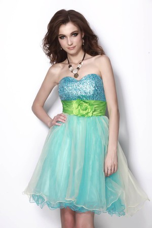 [US$ 73.99] Sleeveless Accented Rosette Princess Strapless Sweet Sixteen Dr