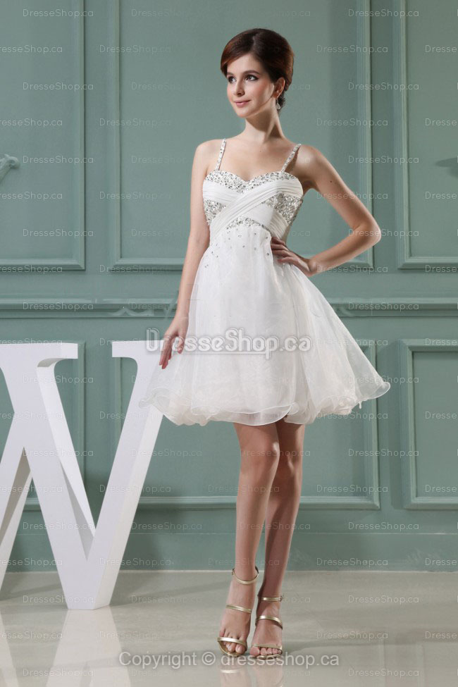 A-line Spaghetti Straps White Sequins Dress at dresseshop.ca