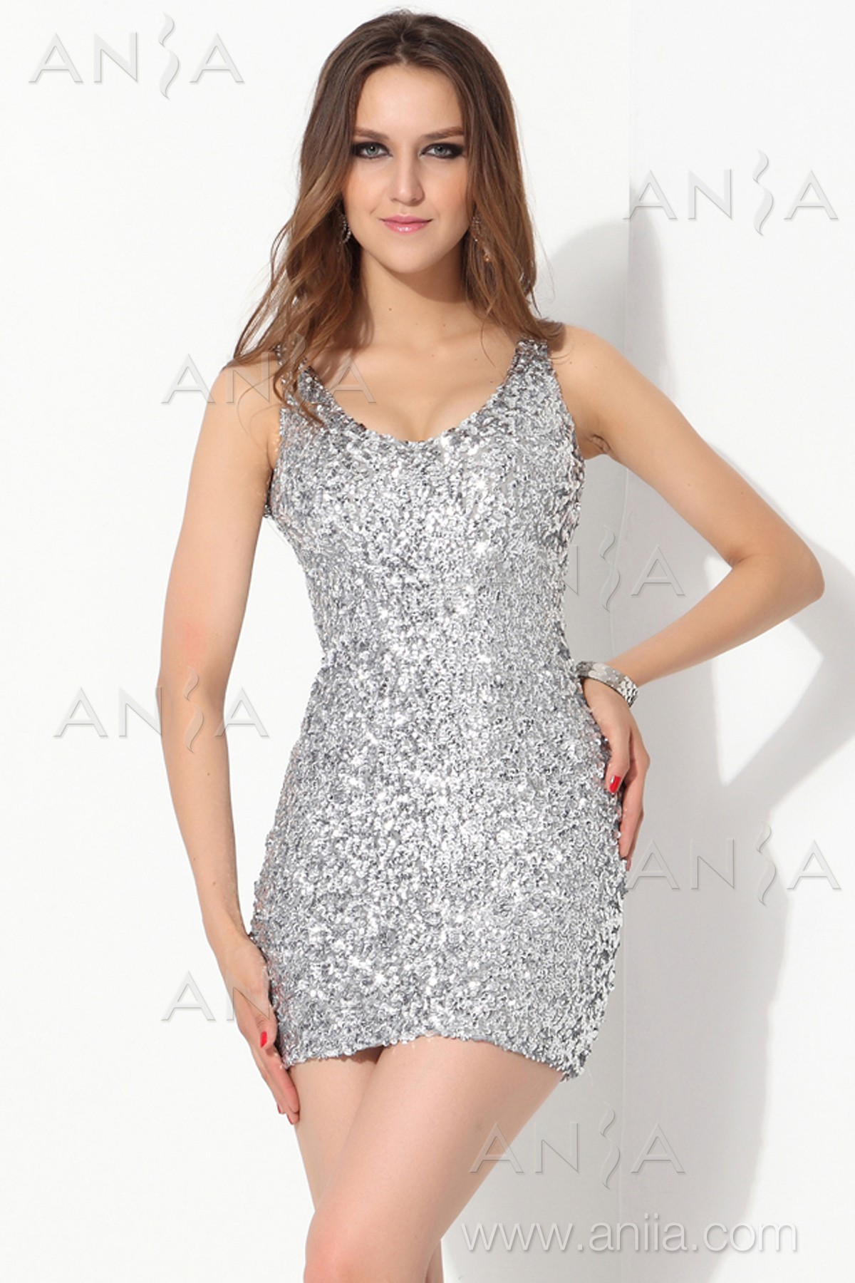 Silver Short Dresses - Qi Dress