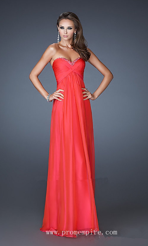 Long Red Strapless Debs Dresses