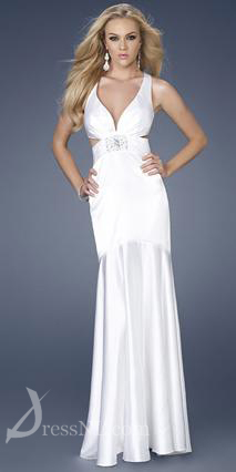 Long White V-Neck Satin Evening Dress