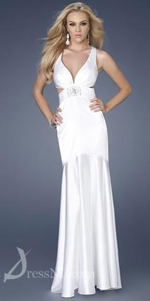 Long White V-Neck Satin Evening Dress
