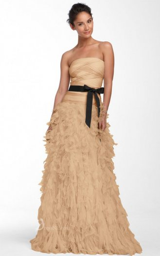 Natural Strapless Floor-length Chiffon Gold Dress
