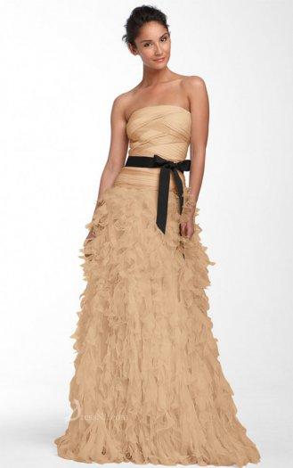 Natural Strapless Floor-length Chiffon Gold Dress