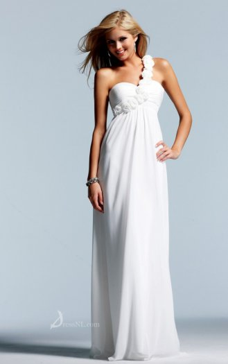 Natural One Shoulder Floor-length Chiffon White Dress