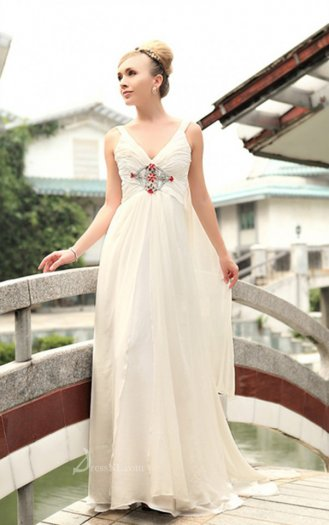 Empire Spaghetti Straps Floor-length Chiffon White Dress