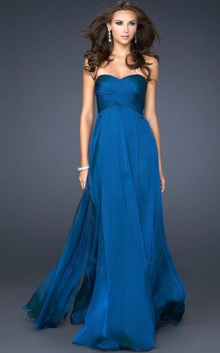 Midnight Blue Strapless Floor Length Draped... | StyleCaster