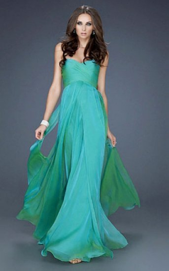 turquoise long strapless chiffon evening dresses