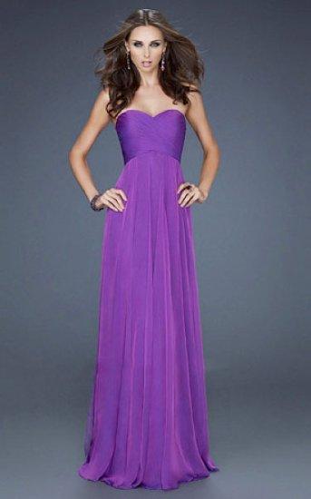 Long Purple Strapless Best Chiffon Prom Dresses [long purple dress ...