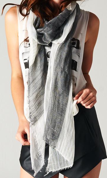 BLACK AND WHITE STRIPED SCARF SHOP PUBLIK   PUBLIK   Women's Clothing